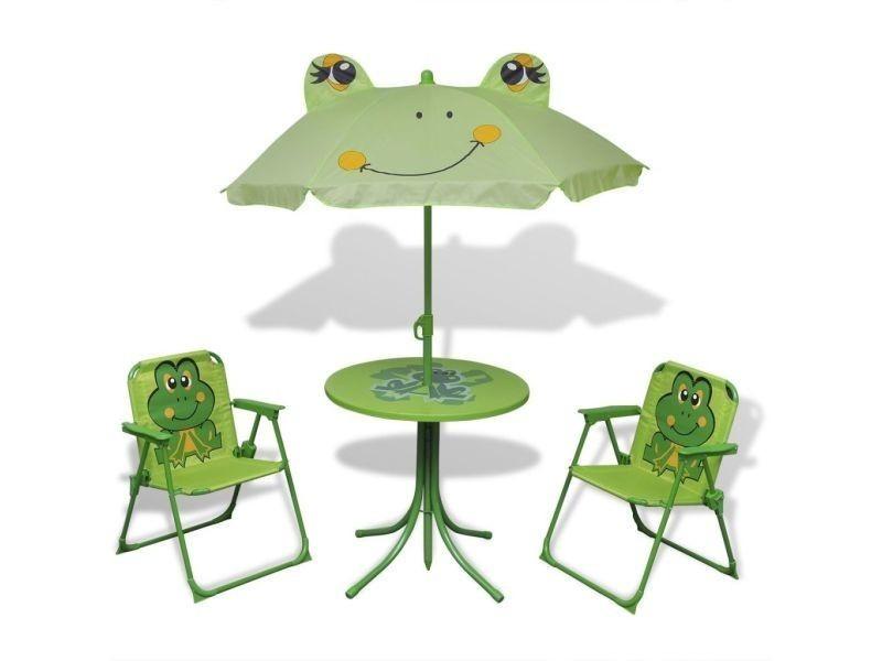 Vidaxl jeu de bistro avec parasol pour enfants vert 41843