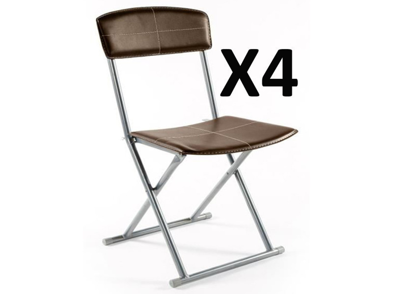 Lot de 4 chaises pliantes pvc polyuréthane en marron -pegane-