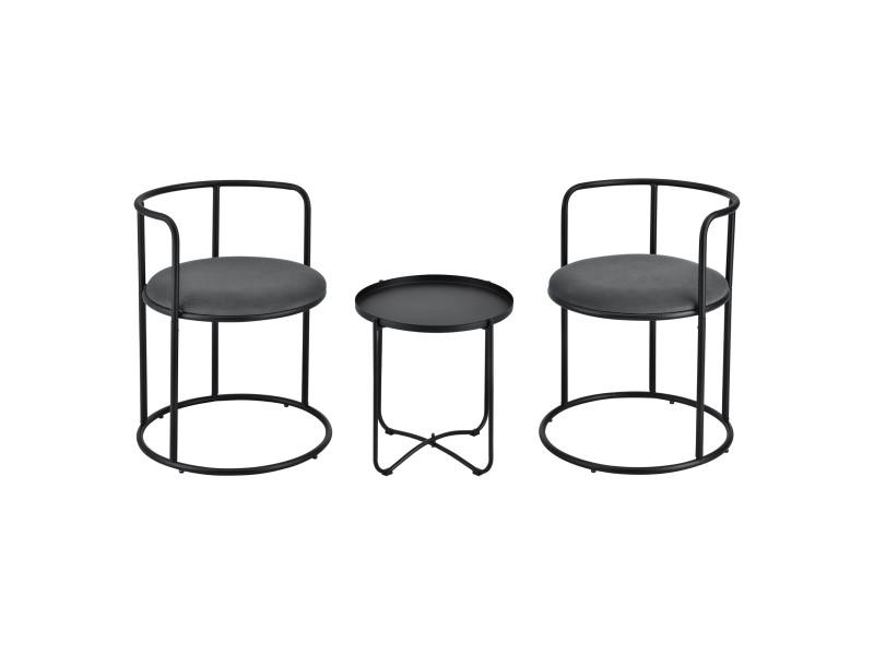 Ensemble de meubles design pour salle de séjour set chaises rondes table basse ronde plateau amovible acier laqué velours noir [en.casa]