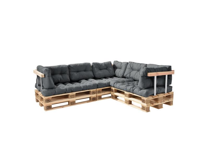 [en.casa] canapé de palette euro- 5-siège avec coussins- [gris brilliant] kit complète incl. Dossier et appuie-bras
