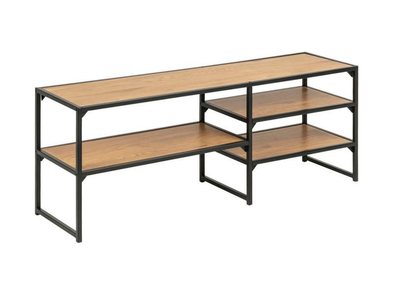 Bobochic meuble tv 120 cm raven noir et imitation chêne