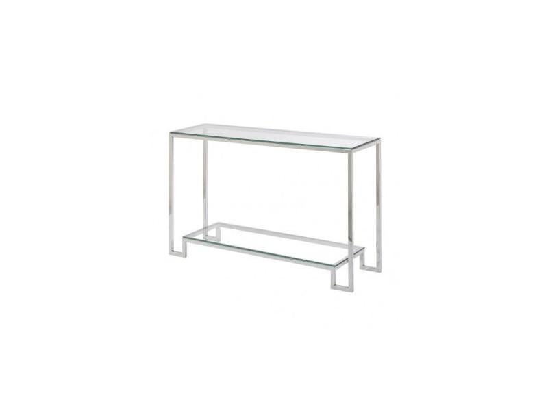 Console design verre et chrome boston 120 cm