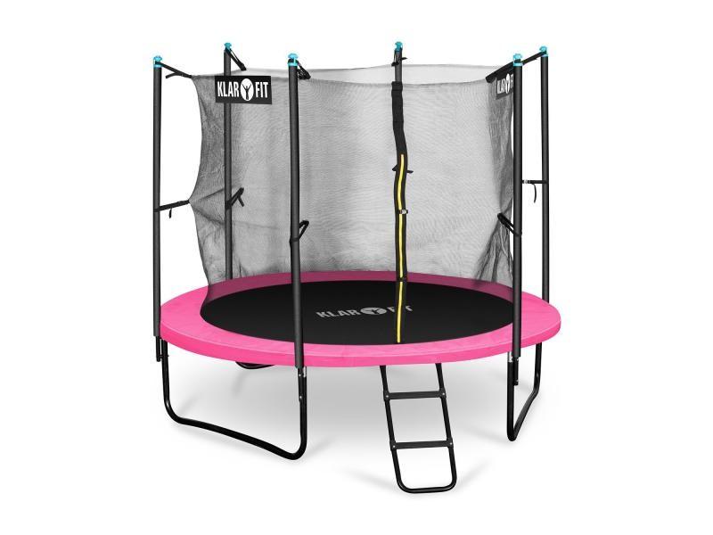 Klarfit rocketgirl 250 trampoline fitness 250cm - filet de sécurité & échelle - rose