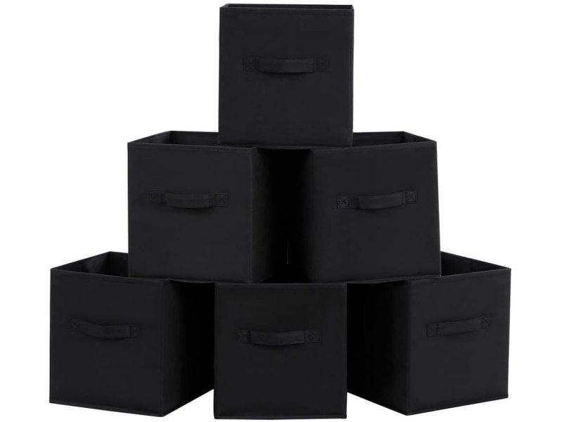 Lot de 6 boîtes tiroirs en tissu cube de rangement pliable coffre noir helloshop26 12_0000130