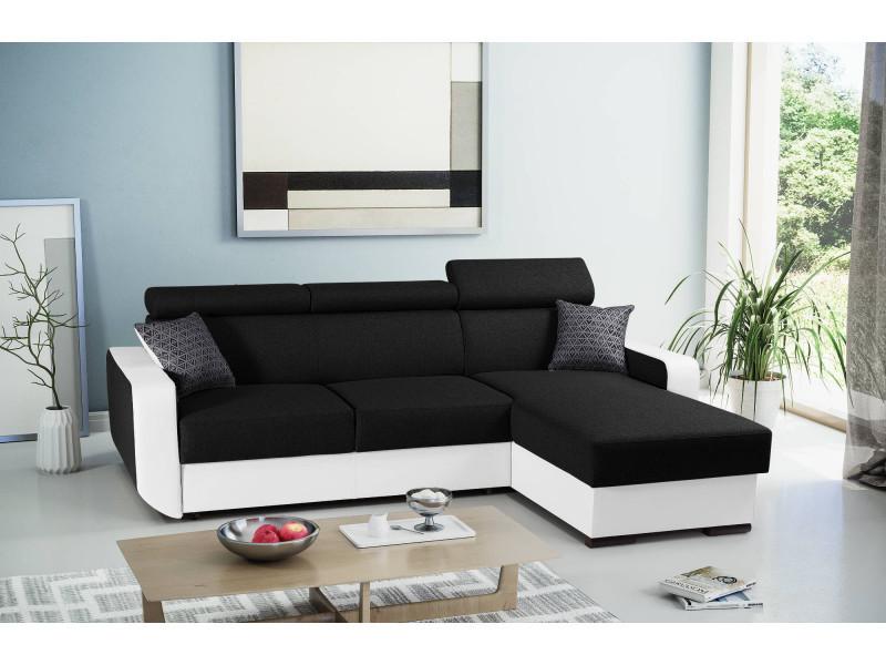 Dustin - canapé d'angle réversible - 4 places - convertible avec coffre - têtières réglables couleur - blanc / noir