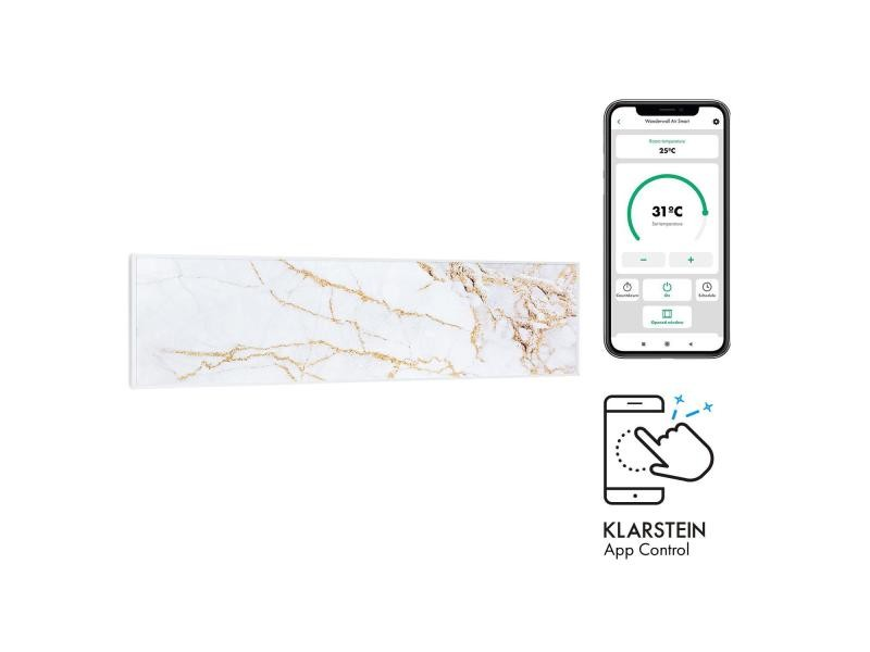 Klarstein wonderwall air art smart radiateur infrarouge connecté , 120 x 30cm , chauffage 350w , pour 7m² , , design marbre ii