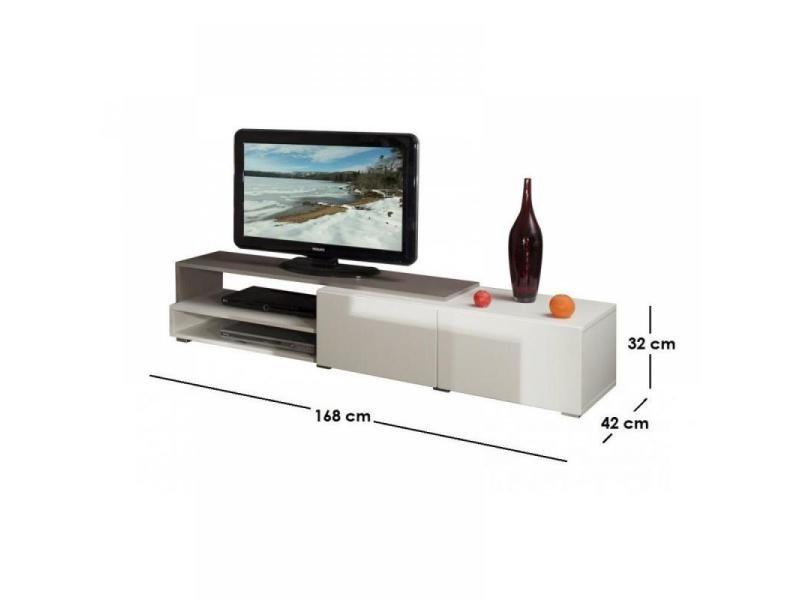 pacific meuble tv couleur blanc et taupe laqu brillant grand mod le 20100831641 vente de. Black Bedroom Furniture Sets. Home Design Ideas