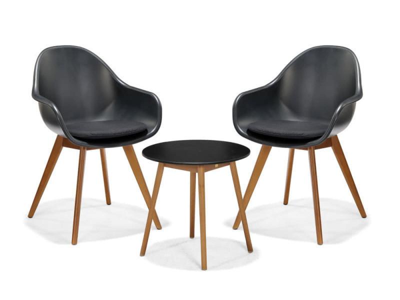 Salon de jardin 2 places : table basse duranite et eucalyptus et 2 ...