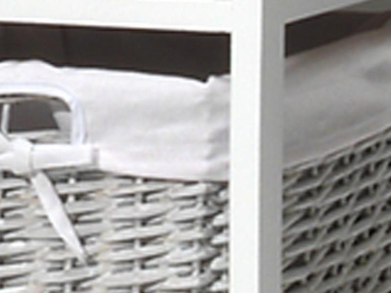 Meuble d'appoint avec 3 tiroirs en rotin coloris blanc - Vente de ...