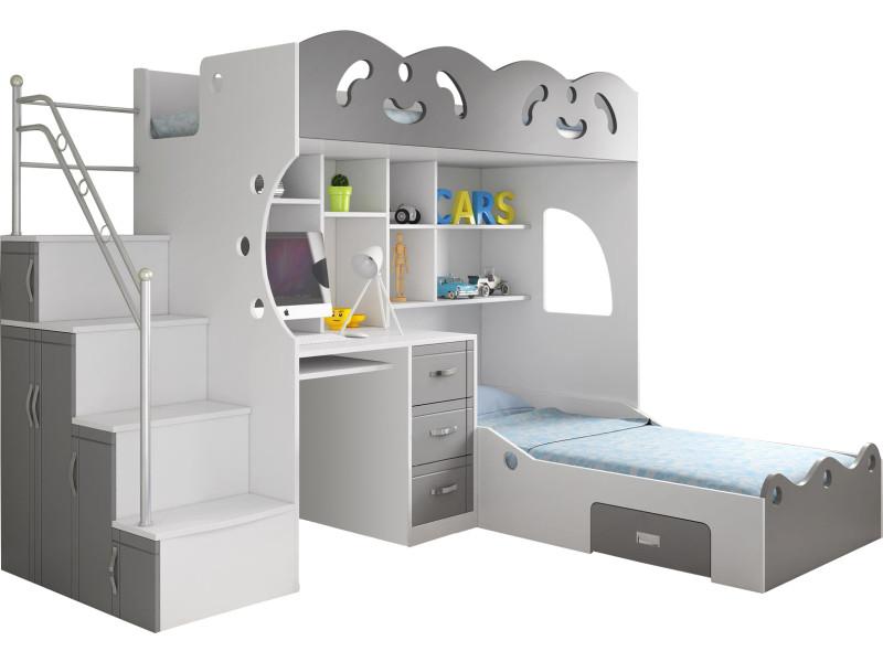 lit combin 2 couchages gris et blanc vente de. Black Bedroom Furniture Sets. Home Design Ideas