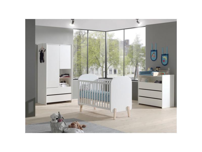 Chambre bébé scandinave pin massif blanc laqué junior / coloris : / dimensions : 60x120 cm