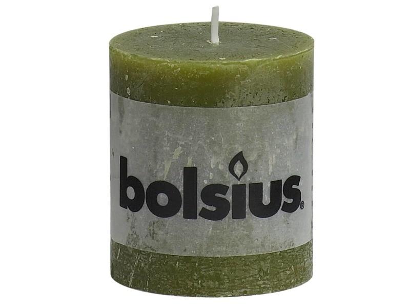 Bolsius bougies pilier rustiques 6 pcs 80 x 68 mm vert olive 428119