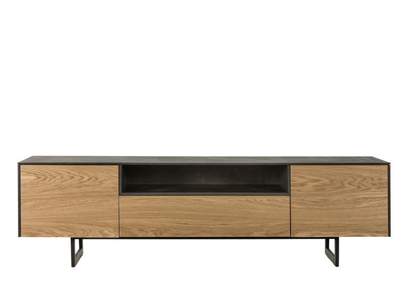 Meuble tv bas en bois - 2 portes / 1 tiroir - brighton