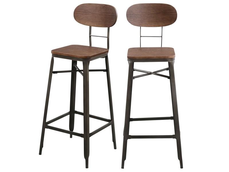 Tabouret De Bar Woody Lot De 2 Vente De Bar Et Tabouret De Bar