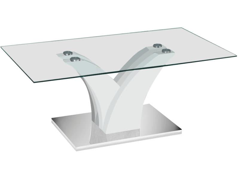 Table Basse Design Blanc Laque En Bois Mdf Et Verre Trempe