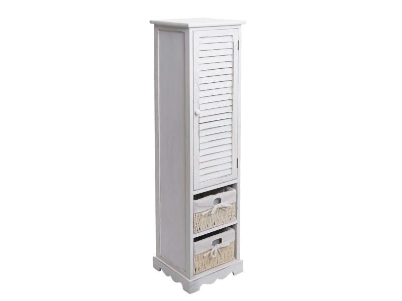 Commode de salle de bain hwc-h20, meuble de salle de bain 120x27x29cm bois massif ~ shabby blanc
