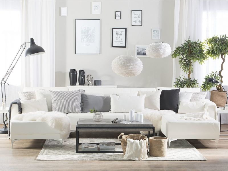 Canapé panoramique convertible en simili-cuir blanc 5 places aberdeen 150491