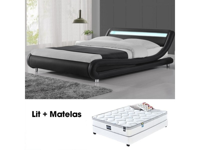lit led design julio noir 140cm avec matelas romance vente de meubler design conforama. Black Bedroom Furniture Sets. Home Design Ideas