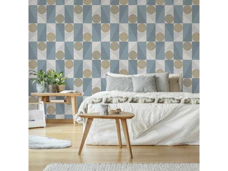 Papier peint intissé scandi géo vintage 1005 x 52cm bleu 10017876