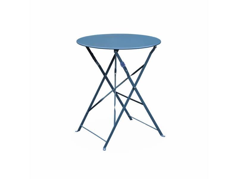 Table de jardin bistrot pliable - emilia ronde bleu grisé- table ronde ø60cm en acier thermolaqué