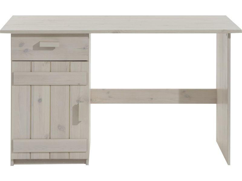 Bureau pour enfant 124 cm en pin massif coloris blanc vente de comforium conforama - Bureau enfant pin massif ...