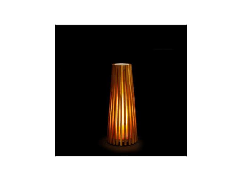 Lampe à poser bois naturel taille s - spaniel - l 20 x l 20 x h 50 - neuf