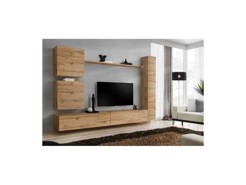 Ensemble meuble salon mural switch viii design, coloris chêne wotan.