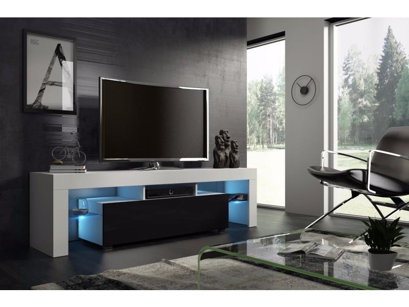 Meuble Tv 160 Cm Blanc Mat Et Noir Laque Avec Led Rgb Vente De Meuble Tv Conforama