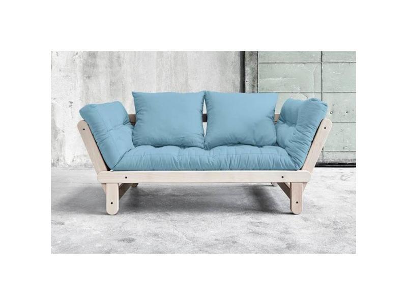 Banquette méri nne convertible futon bleu celeste beat beech