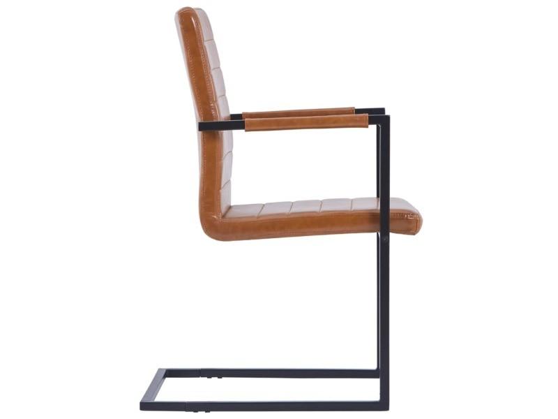Vidaxl chaises de salle à manger cantilever 6 pcs cognac