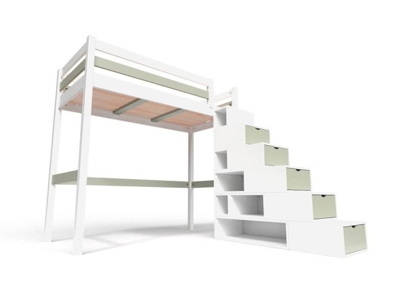 Lit mezzanine sylvia avec escalier cube bois 90x200 blanc/moka CUBE90-LBMO