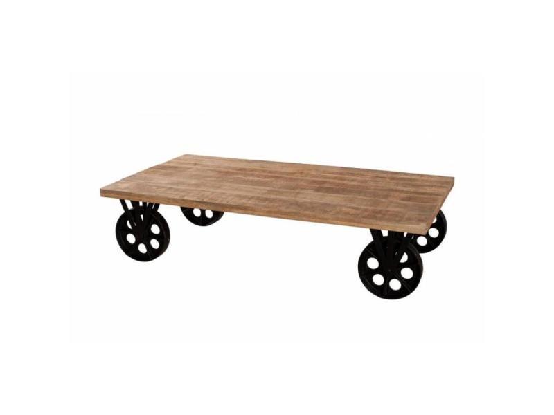 Table basse industrielle grosses roues raphael en bois de manguier 20100858613