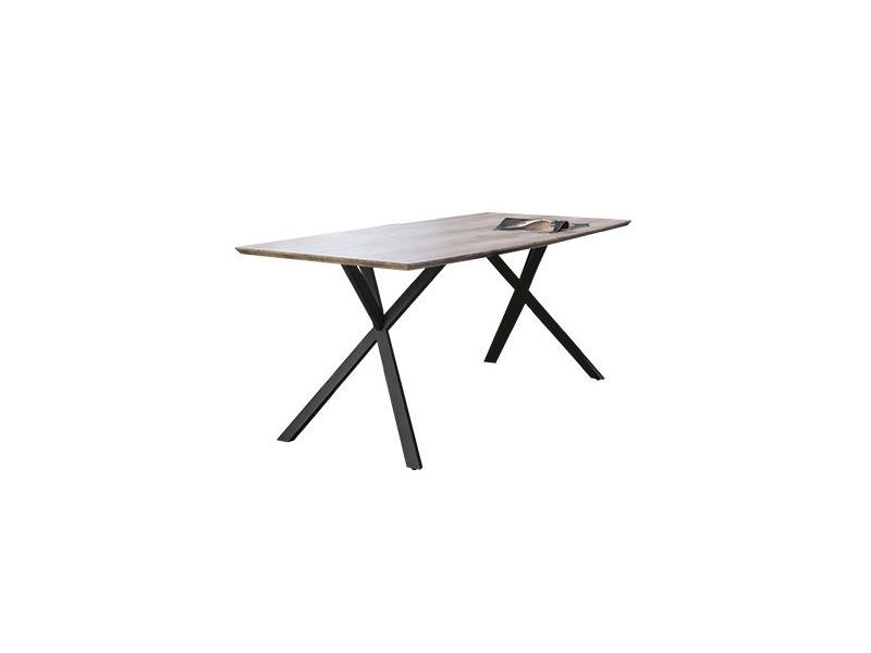 Table à manger forme tonneau 160x90x76 cm plateau chêne antique