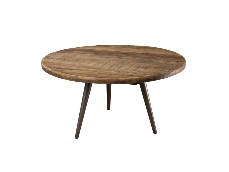 Table basse d'appoint bois ronde 55x55cm teck recyclé et pieds métal