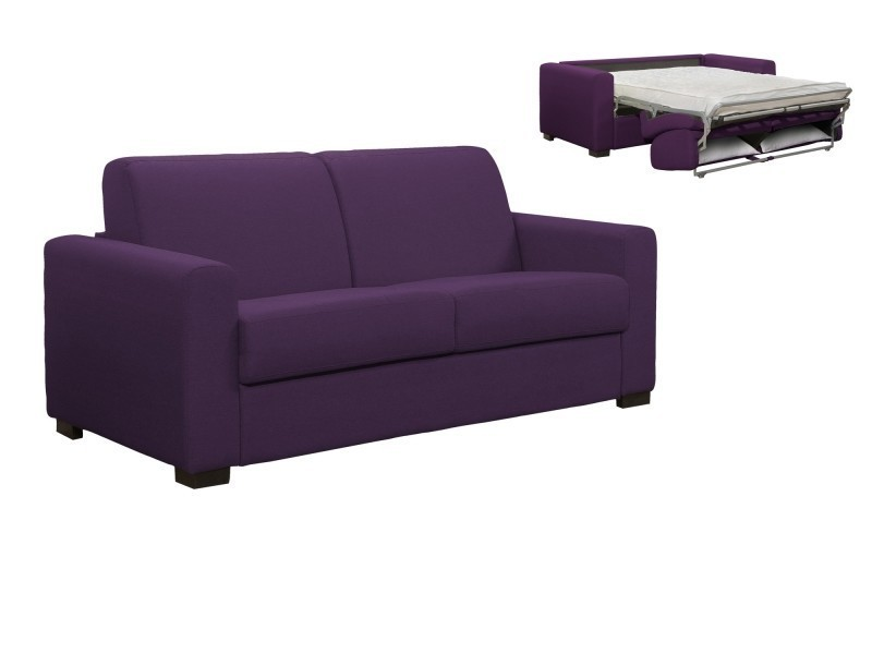 Canapé Louna Places En Violet Ouverture Express 3 Tissu Convertible IEHWDY29