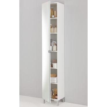 Colonne Miroir De Sdb Coloris Blanc 33 5 X 31 5 X 196 Cm Pegane Vente De Armoire Colonne Etagere Conforama