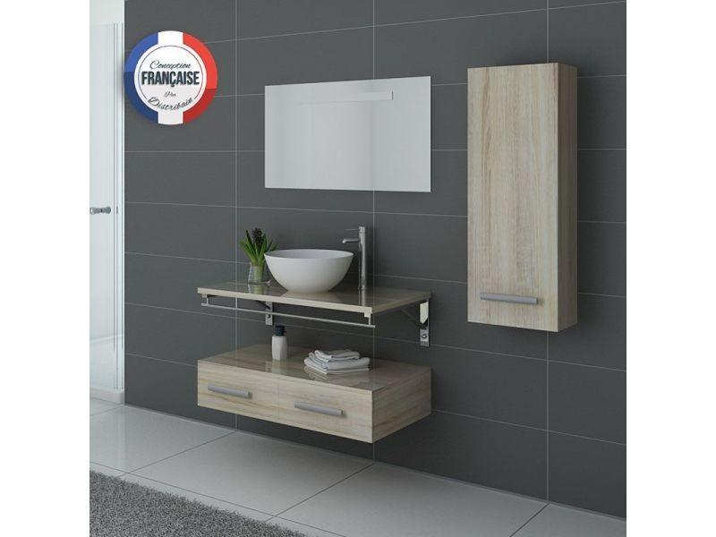 Meuble de salle de bain simple vasque scandinave virtuose - Meuble vasque salle de bain conforama ...