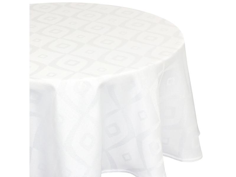 Nappe ronde 180 cm jacquard 100% polyester brunch blanc