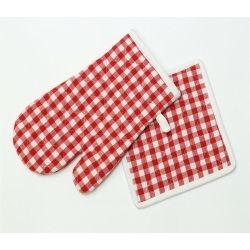 Gant et manique de cuisine vichy rouge