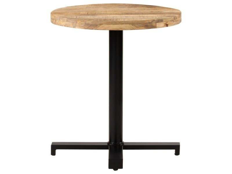 Vidaxl table de bistro ronde ø70x75 cm bois de manguier brut 320267