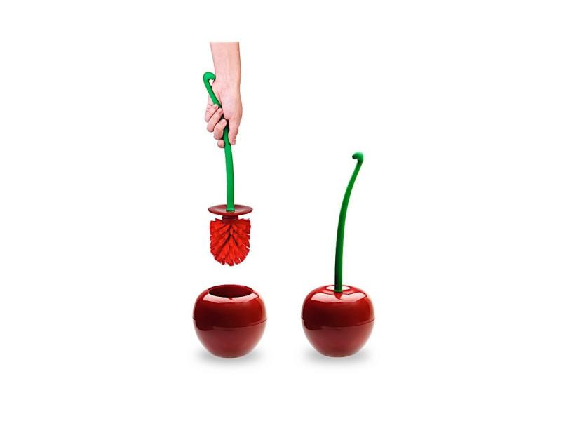 Brosse wc cerise - 30 x 10 cm - plastique - rouge