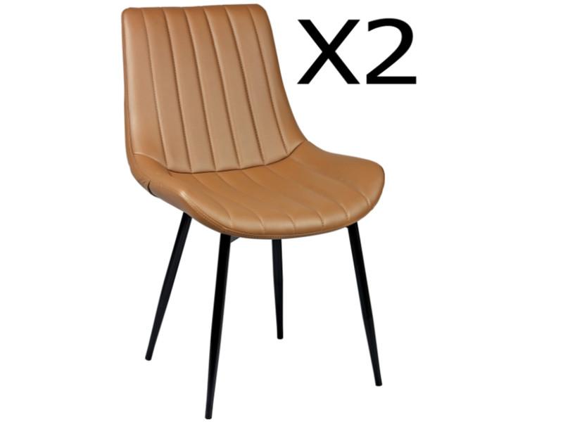 Lot de 2 chaises en acier et polypropylène, coloris taupe - dim : l.54 x p.58 x ht.88 x ht ass. 45 cm -pegane-