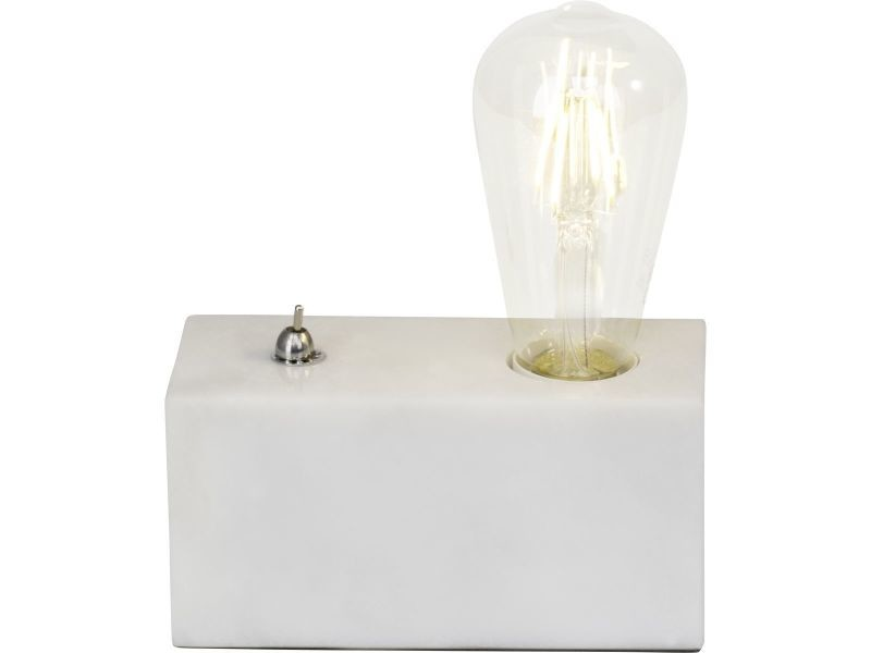 Lampe Ampoule Métal Et Marbre De Leonie Blanche En Vente SUVLpqzMG