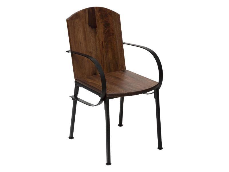 Atmosphera - chaise de salle à manger en bois de manguier et acier noir h 91 cm