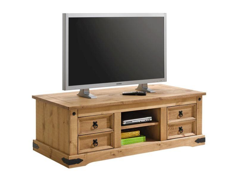 meuble banc tv vintage style mexicain pin massif finition cir e vente de meuble tv conforama. Black Bedroom Furniture Sets. Home Design Ideas