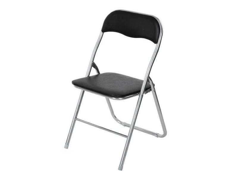 Chaise mango lot de 4 chaises pliantes - métal noir - l 44 x p 46,5 x h 80 cm