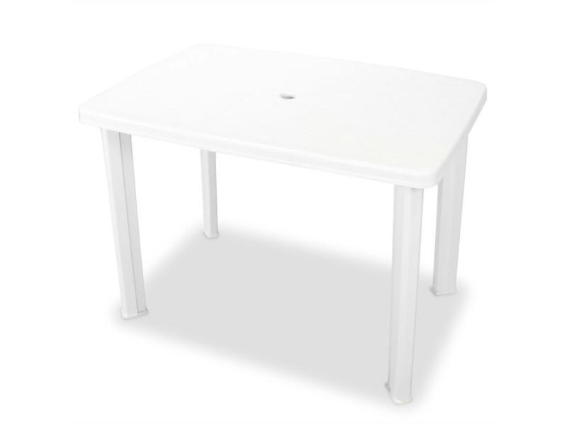 Icaverne - tables d'extérieur inedit table de jardin 101 x 68 x 72 cm plastique blanc