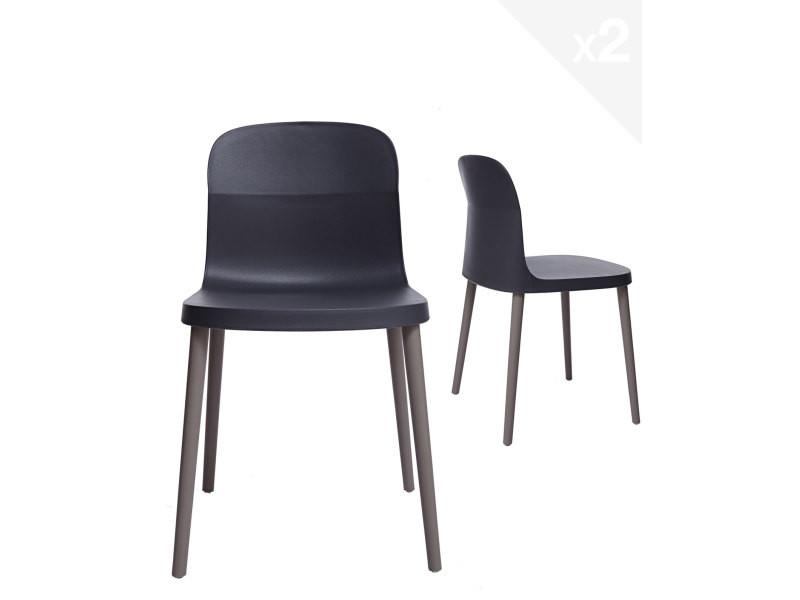 Lot de 2 chaises design intérieur / extérieur SANTI (Gris foncé) 277