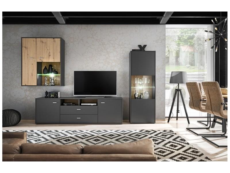 Ensemble meuble tv gravity en gris et bois 259 cm
