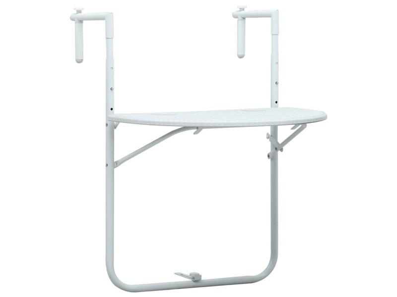 Esthetique mobilier de jardin serie port-au-prince table de balcon blanc 60x64x83,5 cm plastique aspect de rotin